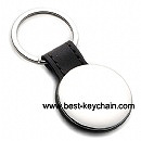 round shape pu leather and metal keychains