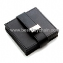 black color square leather cup mat