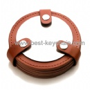pu round shape brown color cup coaster