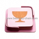 pink color cup square coaster mat